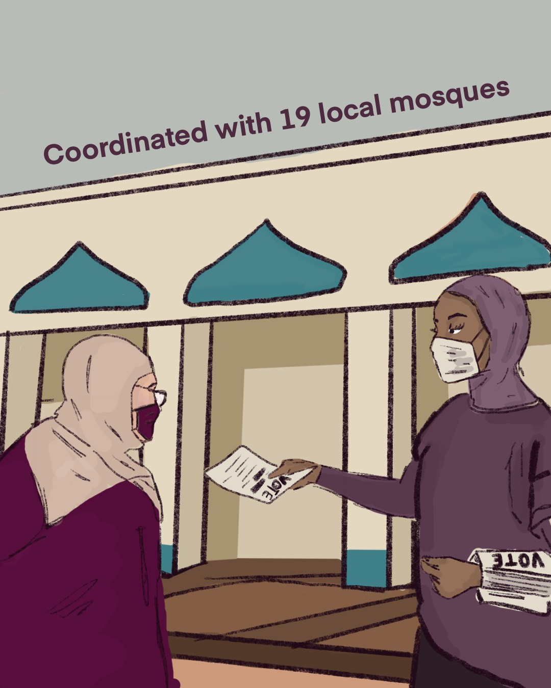 Muslim woman outside the Islamic Center of Greensboro handing our voting fliers to another Muslim woman, both are wearing masks